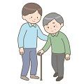 高齢者に付き添う男性