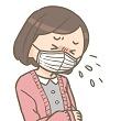 マスクをしてせき込む女性