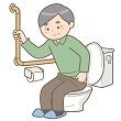 トイレに座る高齢男性