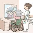 整容する高齢者と見守る介護士
