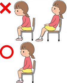 椅子に座る正しい姿勢と悪い姿勢